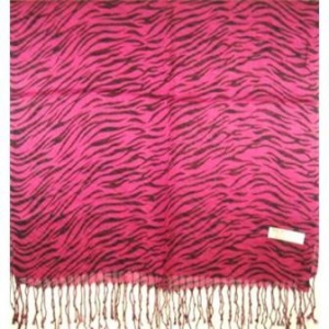 PINK ZEBRA STRIPED PASHMINA SHAWL
