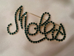 MOLES Green Swarovski Crystal Scripted Pin -X Large