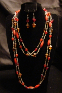 Red Beaded Body Chain Necklace Set