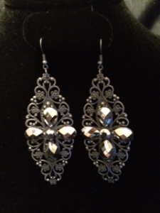 Hematite antique filigree dangle earring
