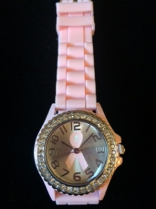 Pink Bling Breast Cancer Ribbon Watch