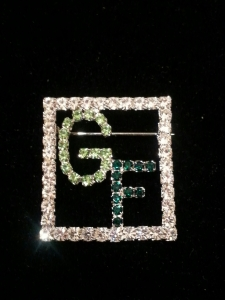 Green GIRLFRIENDS crystal in Square Frame