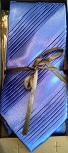 Wide Pleated Tie Box Set- royal blue