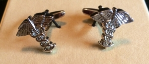 Silver Caduceus Cuff Links