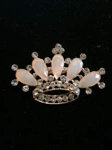 Cream Crystal Crown Brooch