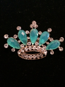 Turquoise Crystal Crown Brooch
