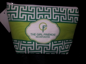 GIRLFRIENDS Kelly Green and Lime Logo Greek Key Clutch-SOLD OUT