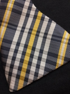 Black and Old Gold Plaid Self-Tie Bow Tie