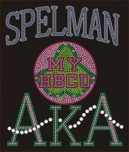 SPELMAN/AKA- MY HBCU BLACK Chapter Bling T-Shirt (Sizes - small - x-large)