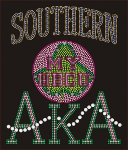 SOUTHERN/AKA- MY HBCU BLACK Chapter Bling T-Shirt (Sizes small-x-large)