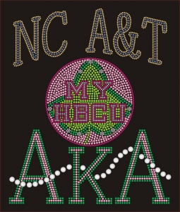 N CAROLINA A&T/AKA- MY HBCU BLACK Chapter Bling T-Shirt (Sizes small - x-large)