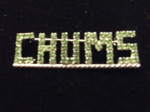 CHUMS Green Swarovski Crystal Lapel Pin