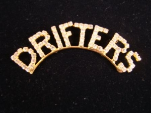 DRIFTERS Gold Plated Arched Swarovski Crystal Lapel Pin