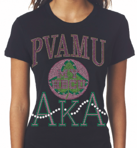 PRAIRIE VIEW A&M/AKA- MY HBCU BLACK Chapter Bling T-Shirt (Sizes - 2x-large- 3x-large)