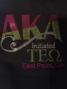 Initiated at TAU EPSILON OMEGA Chapter Bling T-Shirt (Sizes small to x-large)