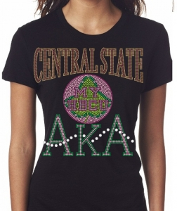 CENTRAL STATE UNIVERSITY/AKA- MY HBCU BLACK Chapter Bling T-Shirt (Sizes 2x-large-3x-large)