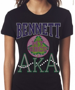 BENNETT COLLEGE/AKA- MY HBCU BLACK Chapter Bling T-Shirt (Sizes small-x-large)