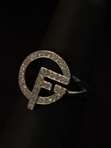 The Girl Friends, Inc. Sterling Silver Logo Ring with cubic zirconia  diamonds
