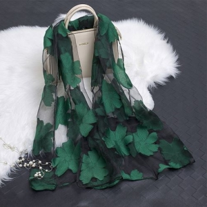 Black and Green SHEER ORGANZA  Scarf