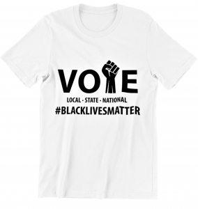 White and Black VOTE- T-Shirt (Medium to X-large)