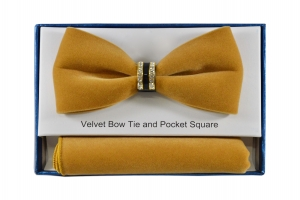 Gold Velvet Bow tie with bling-Pre-tied only