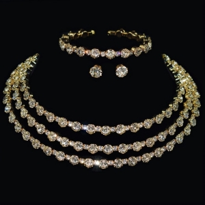 3 Piece Crystal and Gold Necklace Set with bracelet
