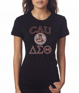 CLARK ATLANTA UNIVERSITY/DST- MY HBCU BLACK Chapter Bling T-Shirt (Sizes - small - x-large)