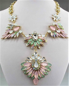 Crystal Pink and Green Ornate Collar Necklace-Only a few left!