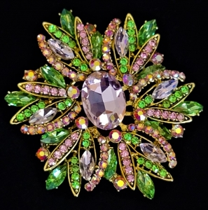 Pink and Green Sparking Crystal large brooch/pendant