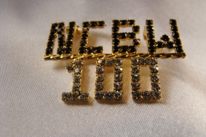 NCBW/100 black and clear crystal pin