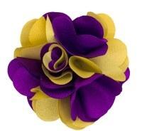 PURPLE & Gold SILK FLOWER LAPEL PIN