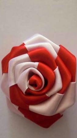 Red white silk rose flower lapel stick pin mightylinksfo