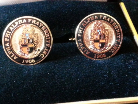 Classic round alpha phi alpha crest cuff links - Subject alpha cf ...