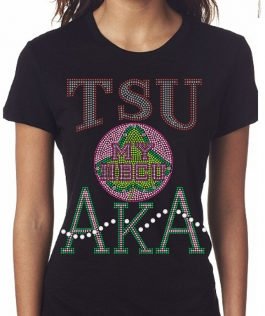 db7a31400 TEXAS SOUTHERN/AKA- MY HBCU BLACK Chapter Bling T-Shirt (Sizes small -  x-large)