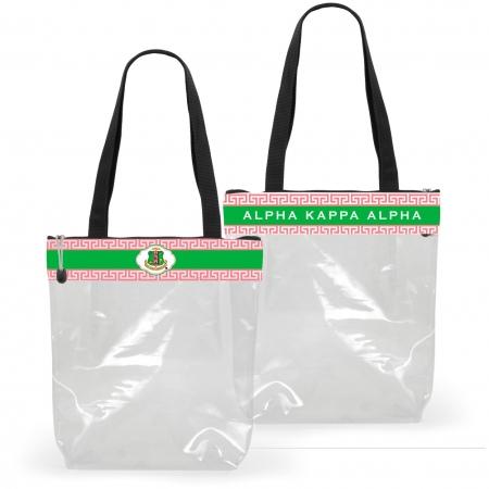 Aka Pink And Green Shield Greek Key Clear Stadium Tote Bag