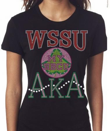 WINSTON-SALEM STATE UNIVERSITY AKA- MY HBCU BLACK Chapter Bling T-Shirt ( Sizes Small- X-large) 4a3d09ab5