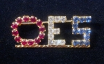 OES Red, White, and Blue Swarovski crystal lapel pin - Medium