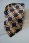 Brown and Gold Geometric Patterned Tie