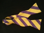Purple and Gold Striped Bow Tie