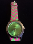 Pink And Green Watch with Geometric Design on leather band