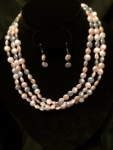 Peach and green pearl necklace set