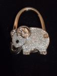 Silver Elephant with Rhinestones Purse Hanger