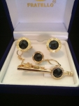 Black & Gold Circle Cufflink and Tie Clip Set