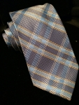 Plaid tie-navy blue/blue/yellow