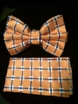 Check-patterned Bow Tie- Orange