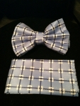 Check-patterned Bow Tie- Blue