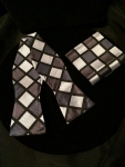 Square Patterned Bow Tie-Black and silver