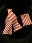Crimson & Gold Peppermint-Striped Bow Tie