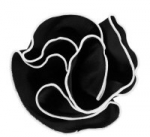 Black with White Trim Round Pocket Square