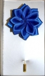 ROYAL BLUE SILK LOTUS FLOWER LAPEL STICK PIN
